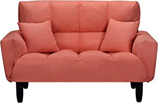 Convertible Upholstered Plush Sofa,Tufted Settee Bedroom Bench,Chair Full Size Sleeper Bed with Support Legs,for Restaurant, Dorm, Living Room, Orange