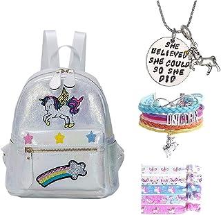 Fanovo White Rainbow Unicorn Backpack, Mini Travel Backpack, Shiny Backpack for Girls, Super Cool Leather Daypack + Unicorn/Bracelet/Inspirational Necklace/Hair Ties (Q - White Backpack)