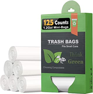 1.2 Gallon Compostable Trash Bags, Small Trash Bags for bathroom office kitchen, Strong Small Garbage Bags ...
