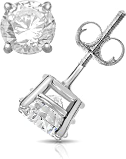 1.00 ct t.w. Diamond Stud Earrings 14K White Gold with Screw Back H-I I1-I2