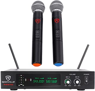 Rockville Dual UHF Handheld Wireless Microphone System w/LCD (RWM70U)