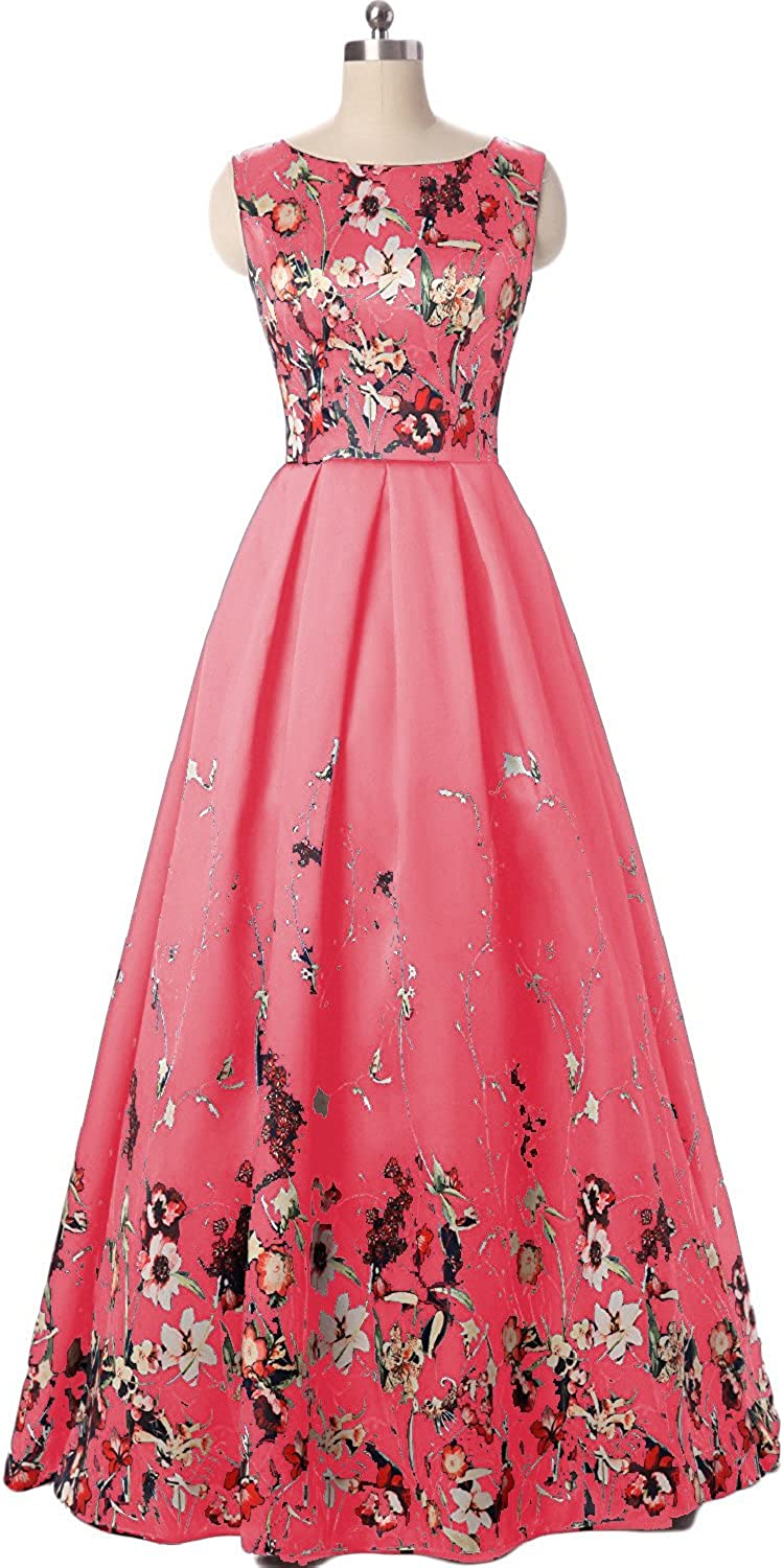 Lily Wedding Womens Floral Aline Prom Dress 2019 Long Sleeveless Satin Evening Formal Ball Gown