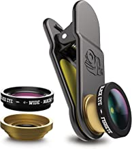 Black Eye 3 in 1, Fisheye, Wide Angle and Macro Clip On Lens, Compatible with iPhone, Samsung and Most Other Mobile & Tablet Devices