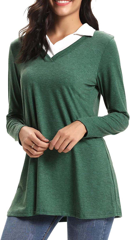CEASIKERY Women's Long Sleeve Contrast Collar Shirt Aline Pleated Office Tunic 55