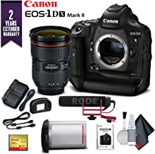 Canon EOS-1DX Mark II DSLR Camera W/Canon EF 24-70mm f/2.8L II USM Lens & Mic with 2 Year Extended Warranty (International Model) - Advanced Bundle