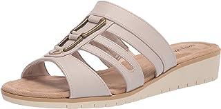 Easy Street Women's Slip on Sandal Wedge, Bone, 7.5