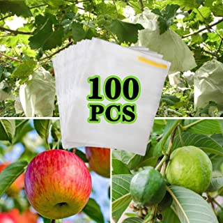 AxPower 100PCS Reusable Fabric Fruit Protection Bag Netting Barrier Bags for Apple Pear Lemon Fruit and Vegetable Against from Insect Birds Pest Bug (7.8 x 11.8 Inch)