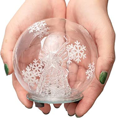 Christmas Angel Snow Globe Decorations - Color Changing LED Glass Ornament Decor(No Liquid No Music)