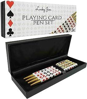 "JYW - ""Lucky Jim"" Set Four Bridge / Poker / Playing Card Pens + 4 Refills + Gift Box"