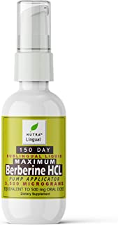 Berberine HCL (from Berberis aristata, Indian Barberry) 3,500 mcg (Equivalent to 500 mg Oral Dose) 150 DAY Sublingual Liqu...
