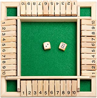 Classics 4 Sided Large Wooden Board Game, Shut The Box Dice Game (2-4 Players) for Kids + Adults [2 Dice + Shut-The-Box Ru...