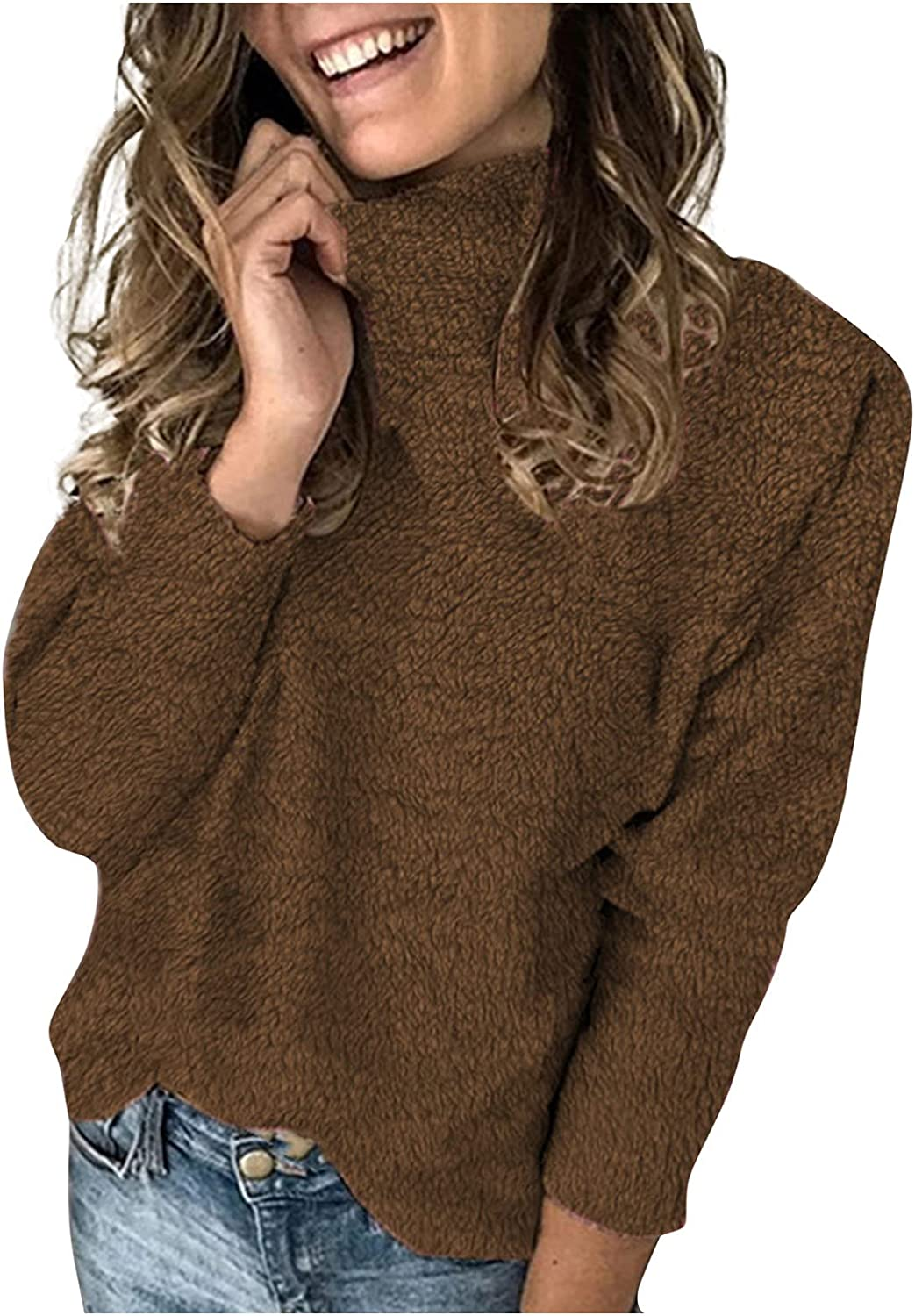 Womens Turtleneck Sweaters Chunky Long SEAL limited product Now free shipping Loose Pullo Sleeve Casual