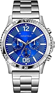 Caravelle Designed by Bulova Men's Quartz Watch with Stainless-Steel Strap, Silver, 24 (Model: 43A145)