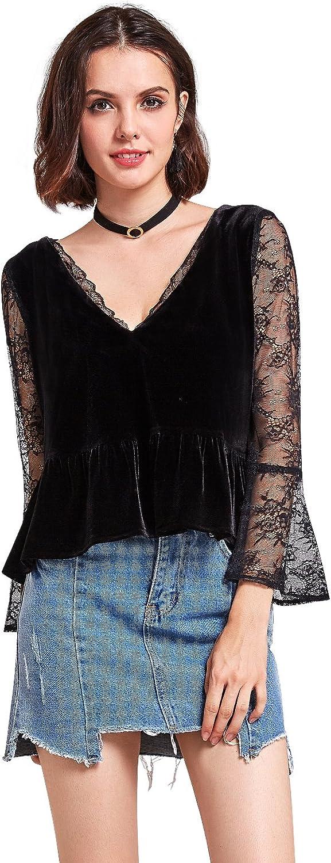Alisa Pan Sexy V Neck Long Lace Sleeve Velvet Top 01132