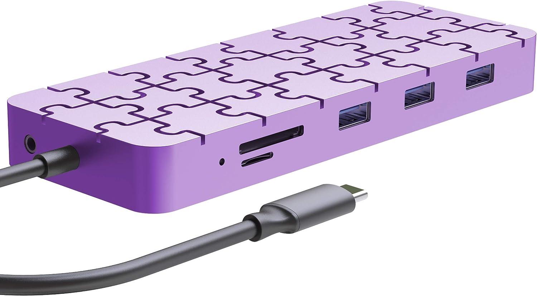 Guanda Laptop Docking Station, USB C PD Charging Hub, 13-in-1 USB Hub with Ethernet, HDMI, DP, VGA, 4 Port-USB 3.0, Micro/SD/TF Memory Card Readers for Mac, ThinkPad Computers - GD8 Lavender Purple