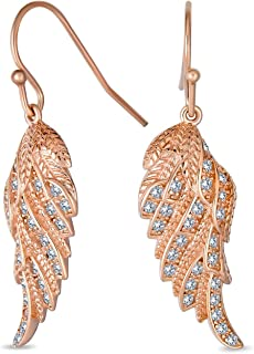 Heavenly Spiritual Symbol Cubic Zirconia Pave CZ Guardian Angel Wing Feather Leverback Dangle Earrings For Women For Teen ...