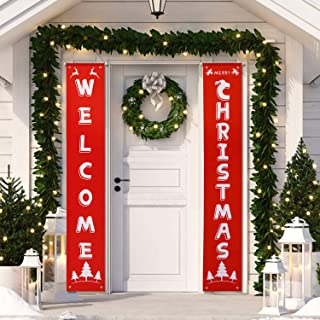 HB-life Merry Christmas Banner,Welcome Christmas Porch Sign for Christmas Decoration Outdoor Indoor, Christmas Banner Red ...