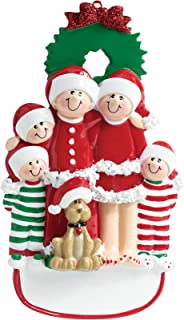 Personalized Family of 5 with Dog Christmas Tree Ornament 2019 - Mother Father Child Santa PJs Hat Pajamas Wreath Yellow Beige Pet Garnish Together Cozy Holiday Foster Gift Year - Free Customization