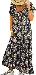 keepwo Women's Punk Skull Shirt Dresses Lady Baggy Strapy Full Length Dress Sleeveless Plus Size Street Dress