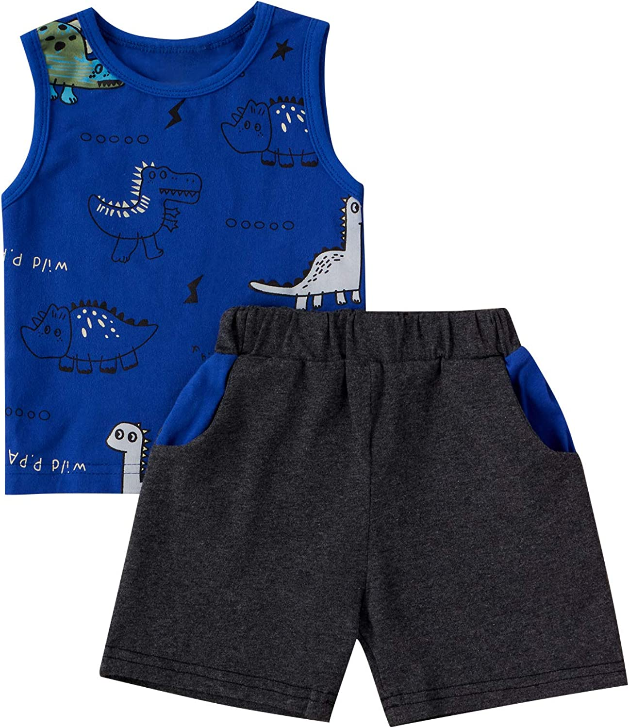 Kid's Dinosaur Two Piece Set, Sleeveless Round Neck Printed Tops Elastic Head Short Pants for Summer