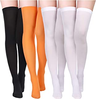 4 Pairs Women's Silk Thigh High Stockings Nylon Socks for Women Cosplay Costume Party Accessory