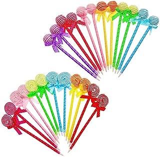 JZK 24 Bolígrafos divertidos forma lollipops para estudiante nños regalo detalles invitaciones cumpleanos navidad infantil