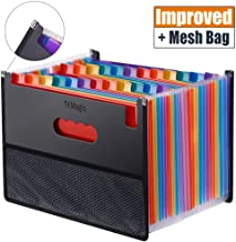 Expanding Accordion File Folder 24 Pockets, Trimagic Filing Box with Unique Mesh Bag Design, Alphabetical Expandable File Organizer for Document Paperwork Tax Bill or Receipt