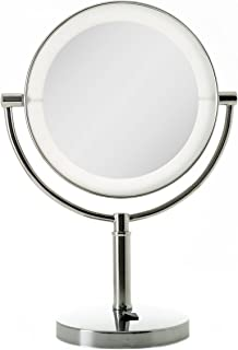 Zadro LED Dual Sided Vanity Beauty Mirror, Magnified Vanity Mirror, 10X or 5X Magnification Makeup Mirrors (10X/1X, Chrome)