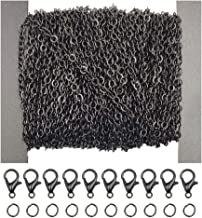 WUBOECE 39 Feet Flat Curb Chain Necklace Bulk Cable with 30 Lobster Clasps and 100 Open Jump Rings for Jewelry Making, Black