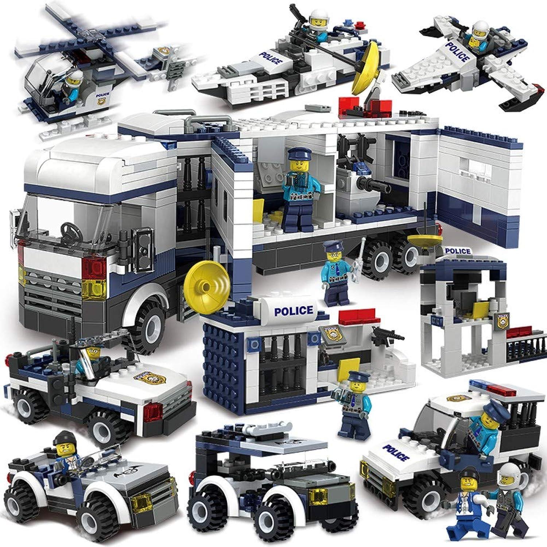 WANGHHH Fai da Te uomouale Tridimensionale Inserire plastica Bambini assemblati Puzzle Regalo 6 in 1 Polizia della Città 726 +6 Bambole
