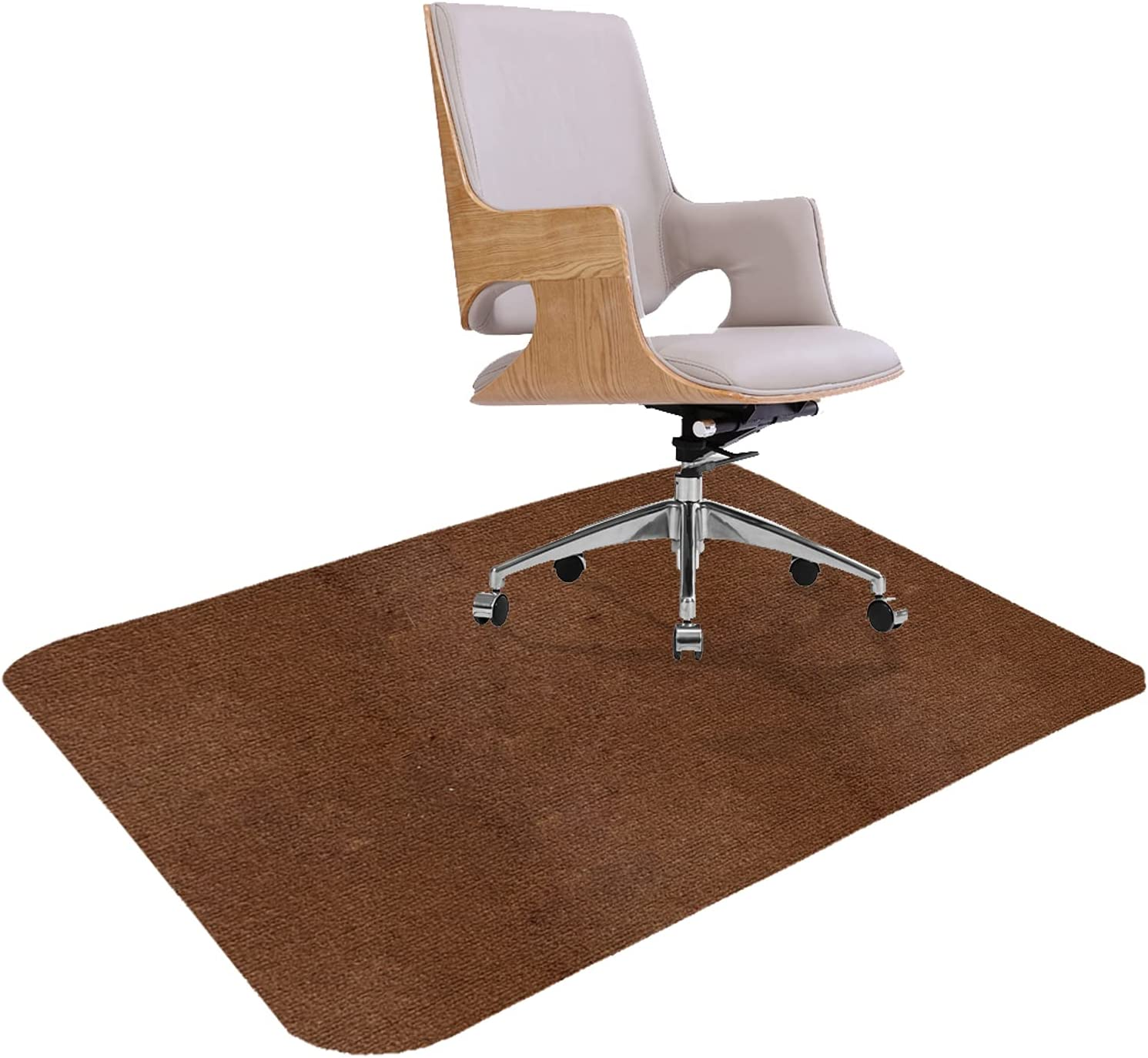 """Office Chair Mat,Chair Mat Premium Office Hard Floor Protector, Desk Chair Mat Floor Protector 1/6"""" Thick 47""""x35"""" for Hard Floor Protection, Anti-Slip, Floor Mat for Porch, Study,Office (Brown)"""