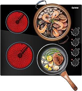 Karinear Plaque de Cuisson en Céramique - Cuisinière électrique de 60 cm, brûleur de cuisson en verre non poli noir avec c...