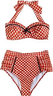 Women's Red Gingham Halter Shirring High Waisted Bikini Set