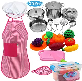 25PCS-Classic Kids Kitchen Toy with Stainless Steel Cookware Pots and Pans ,Cooking Utensils, Apron, Chef Hat, Cutting Foods Kitchen Playset Cookware with Knife, Dish and Durable Storage Box for Kids