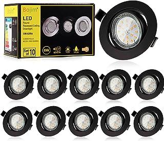 Bojim Spot LED Encastrable Noir, 10x 6W GU10 Spot de plafond Blanc Chaud Rond Plafonnier Encastré 2800K 600lm Equivalente ...