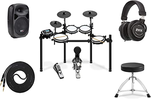 """discount LyxJam 8-Piece Electronic high quality Drum Kit Set, with Real Mesh Fabric 448 Preloaded Sounds, 70 Play-Along Songs, Choke,Rim,Edge & outlet online sale Kick Pad Throne, 8""""PA Speaker, Studio Headphones, Speaker Cable online"""