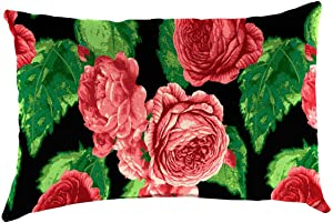 Plow & Hearth Polyester Classic Lumbar Pillow - 19 x 12 x 5.5 Cabbage Rose