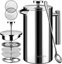 BAYKA 34 Oz French Press Coffee Maker, 304 Grade Stainless Steel, Double Wall Insulated Coffee Press for Home Office, 4-Le...