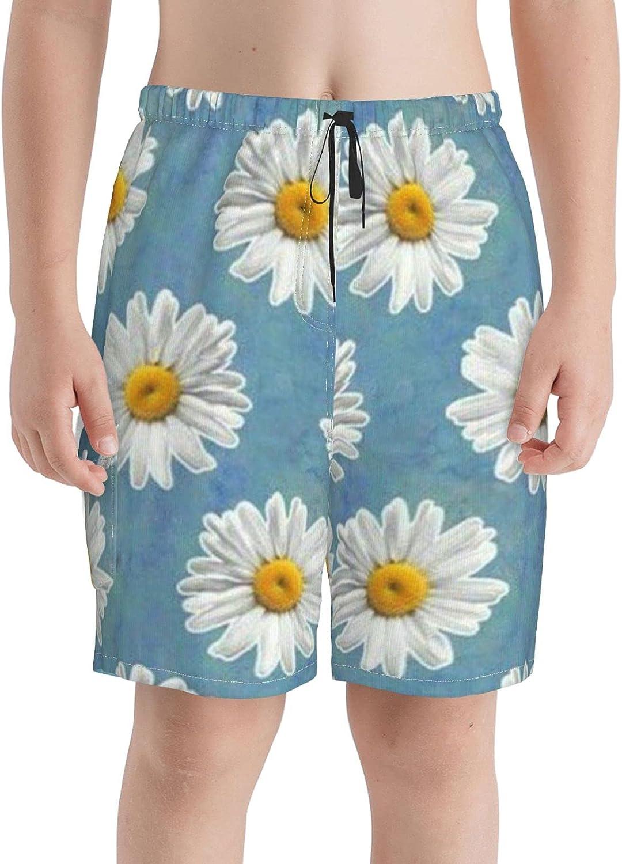 Daisy Flower Omaha Mall Boys Swim Trunks Limited price Boardshorts Teens Beach Shor
