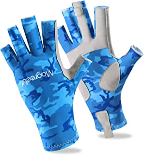 Magreel UV Protection Fishing Gloves for Men Women, UPF50+ Sun Protection Fingerless Gloves Breathable Gloves for Sailing, Cycling,Boating, Kayaking, Padding,Surfing, Hiking