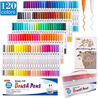 120 Colors Dual Tip Brush Art Marker Pens with 1 Coloring Book,Shuttle Art Fine and Brush Dual Tip Markers Set for Journal, Adult Coloring, Lettering, Calligraphy, Writing, Doodling