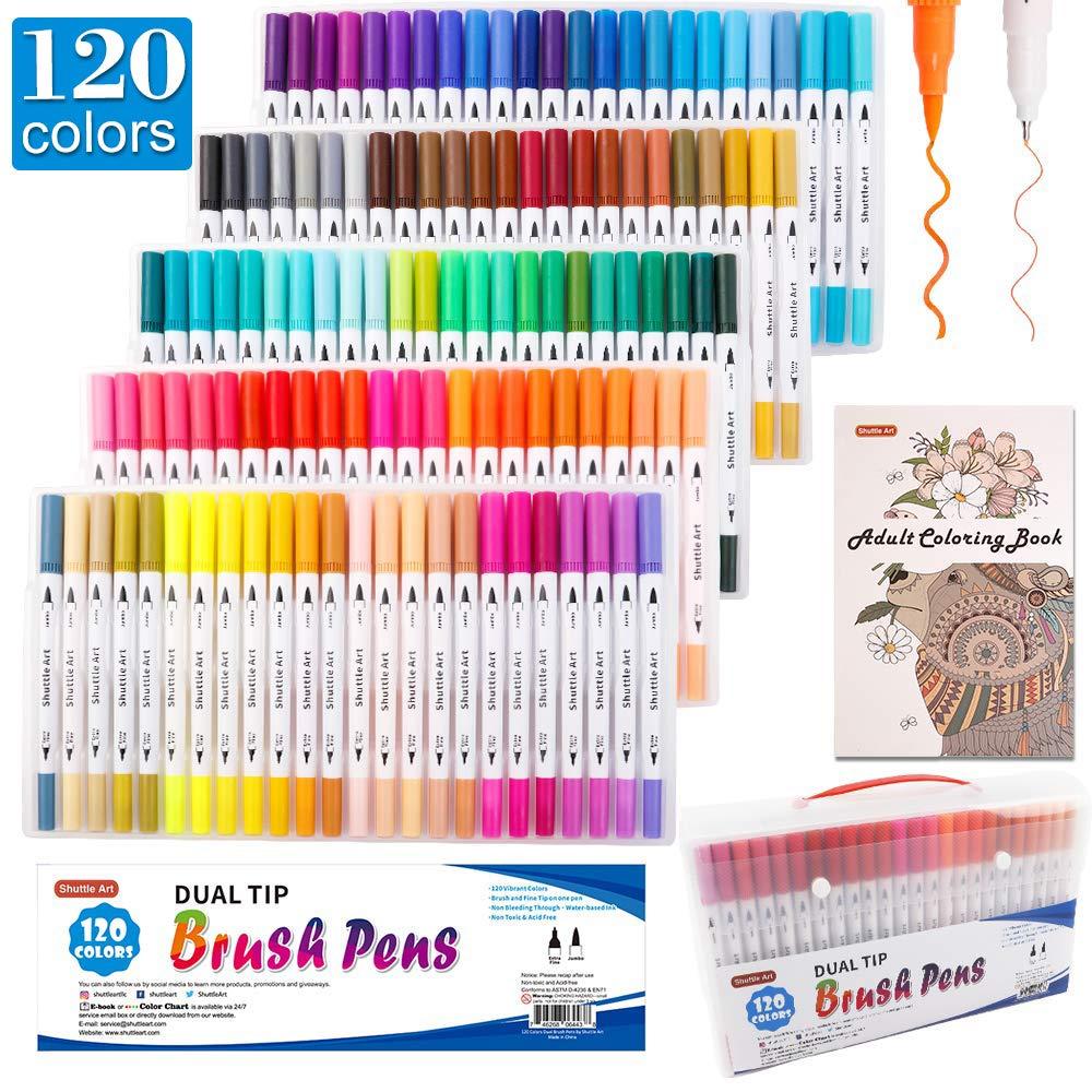 셔틀 아트 120색 듀얼 브러쉬 펜 아트 메이커 세트 (+ 컬러링 북 증정) Shuttle Art 120 Colors Dual Tip Brush Art Marker Pens with 1 Coloring Book