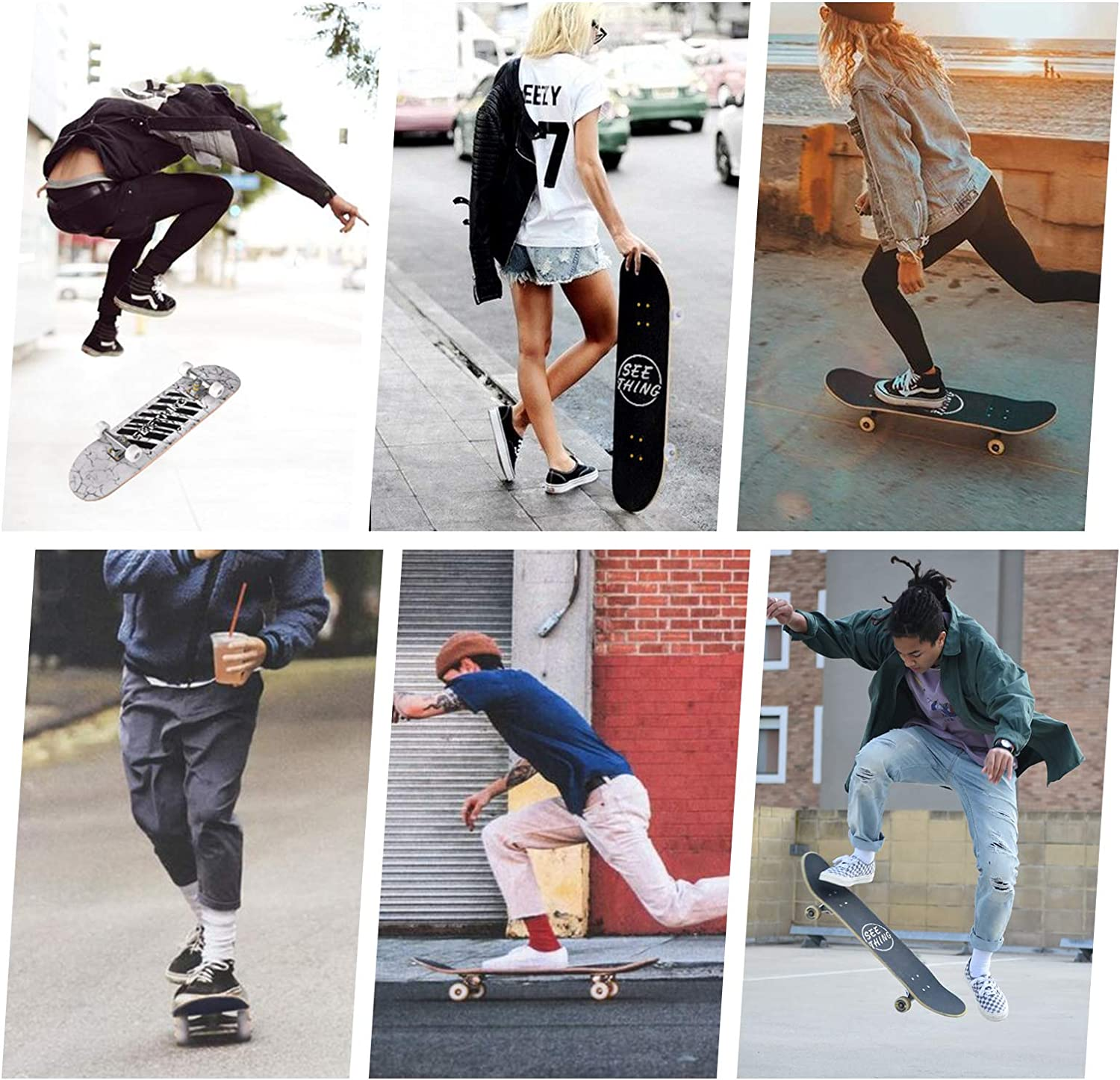 seething 31 Standard Skateboards for Beginners 7 Layer Canadian Maple Double Kick Concave Standard and Tricks Skateboards for Kids and Beginners