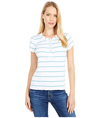 Chaser Baby Rib Short Sleeve Cropped Henley Tee (Stripe) Women