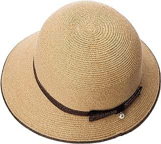 Siggi Womens Foldable Beach Straw Summer Sun Hats Pearl Decoration UPF Coffee
