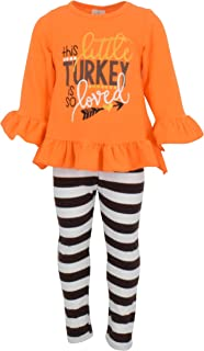 Girls 2 Piece This Little Turkey is Loved Thanksgiving Outfit