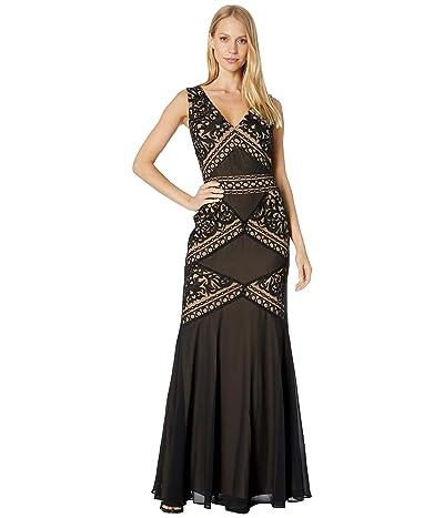 BCBGMAXAZRIA Embroidered Evening Gown (Black) Women