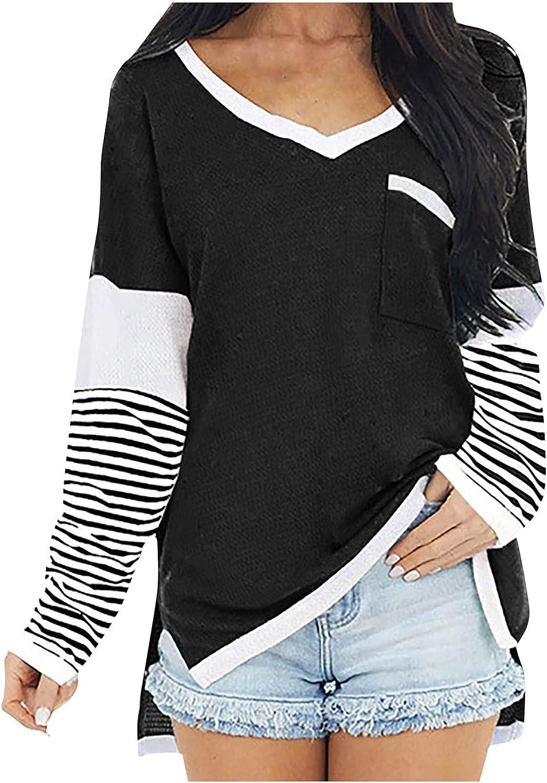 5665 Women V-Neck Oversize Sweatshirt, Trendy Color Block Long Sleeve Side Slit Blouse Shirt Casual Boho T-Shirt Tunic Tops