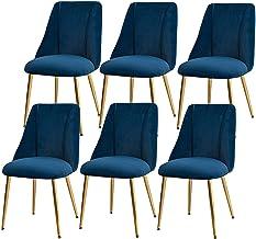 ZCXBHD Zestaw 6 krzeseł do kawy krzesła do jadalni krzesła kuchenne tkanina solidne metalowe krzesła zamszowe siedzenie ja...