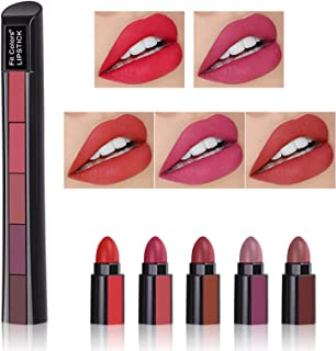 PASNOWFU Matte Lipstick, 5 in 1 Velvet Lipstick Set, Intense Color, Hydrated Lips All Day, Naked Long Lasting Non-stick Natural Makeup Kit